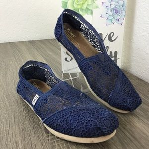 TOMS Classic Crochet Blue Moroccan Lace Slip On